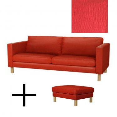 IKEA KARLSTAD Sofa Bed and Footstool SLIPCOVERS Sofabed Ottoman Covers KORNDAL RED Xmas