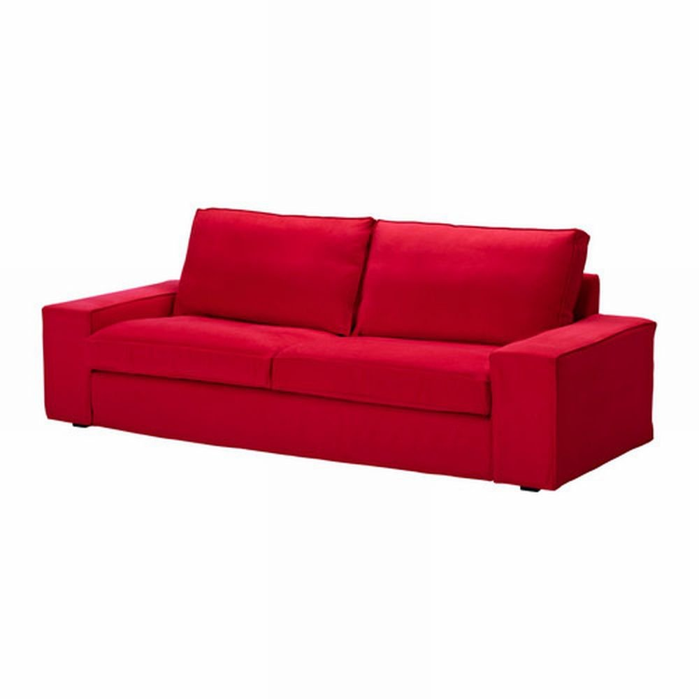 Ikea kivik sofa slipcover cover ingebo bright red cotton for Housse sofa ikea
