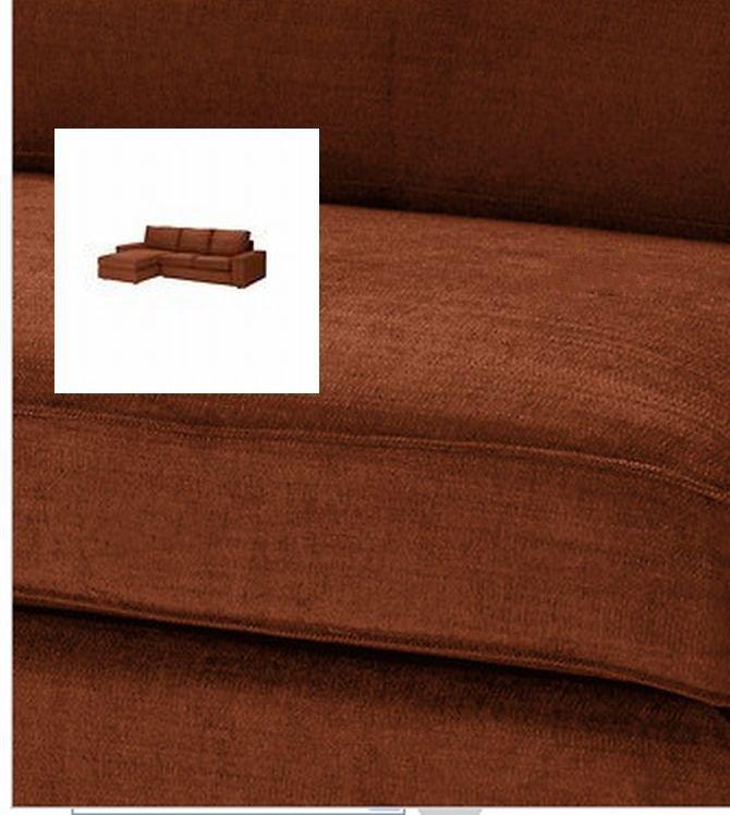 IKEA KIVIK 2 Seat Loveseat Sofa w Chaise SLIPCOVER Cover TULLINGE RUST Brown