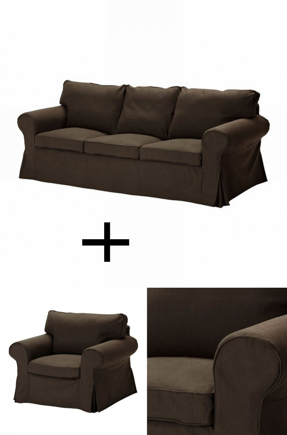 ikea ektorp 3 seat sofa and armchair slipcover set covers svanby brown discontinued. Black Bedroom Furniture Sets. Home Design Ideas