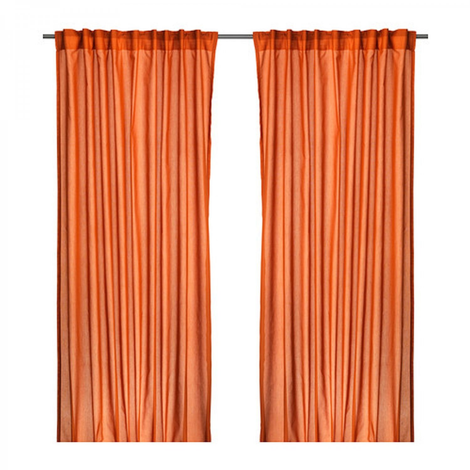 Ikea vivan curtains drapes dark orange 2 panels for Ikea curtain rods uk