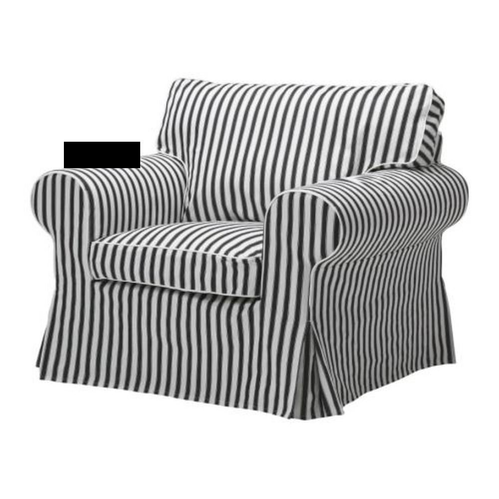 IKEA Ektorp Armchair SLIPCOVER Chair Cover VALLSTA Black White STRIPES