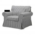 IKEA EKTORP Armchair SLIPCOVER Cover VALLSTA Black and White STRIPES