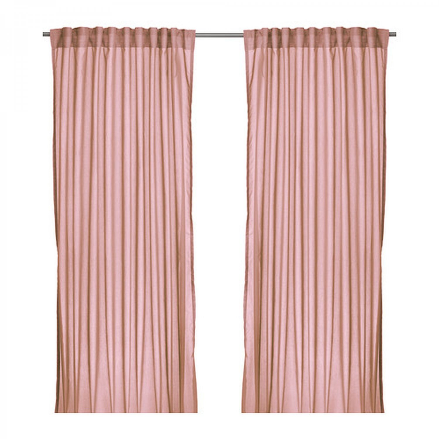 Ikea vivan curtains drapes pink 2 panels pale shell blush for Ikea curtain rods uk