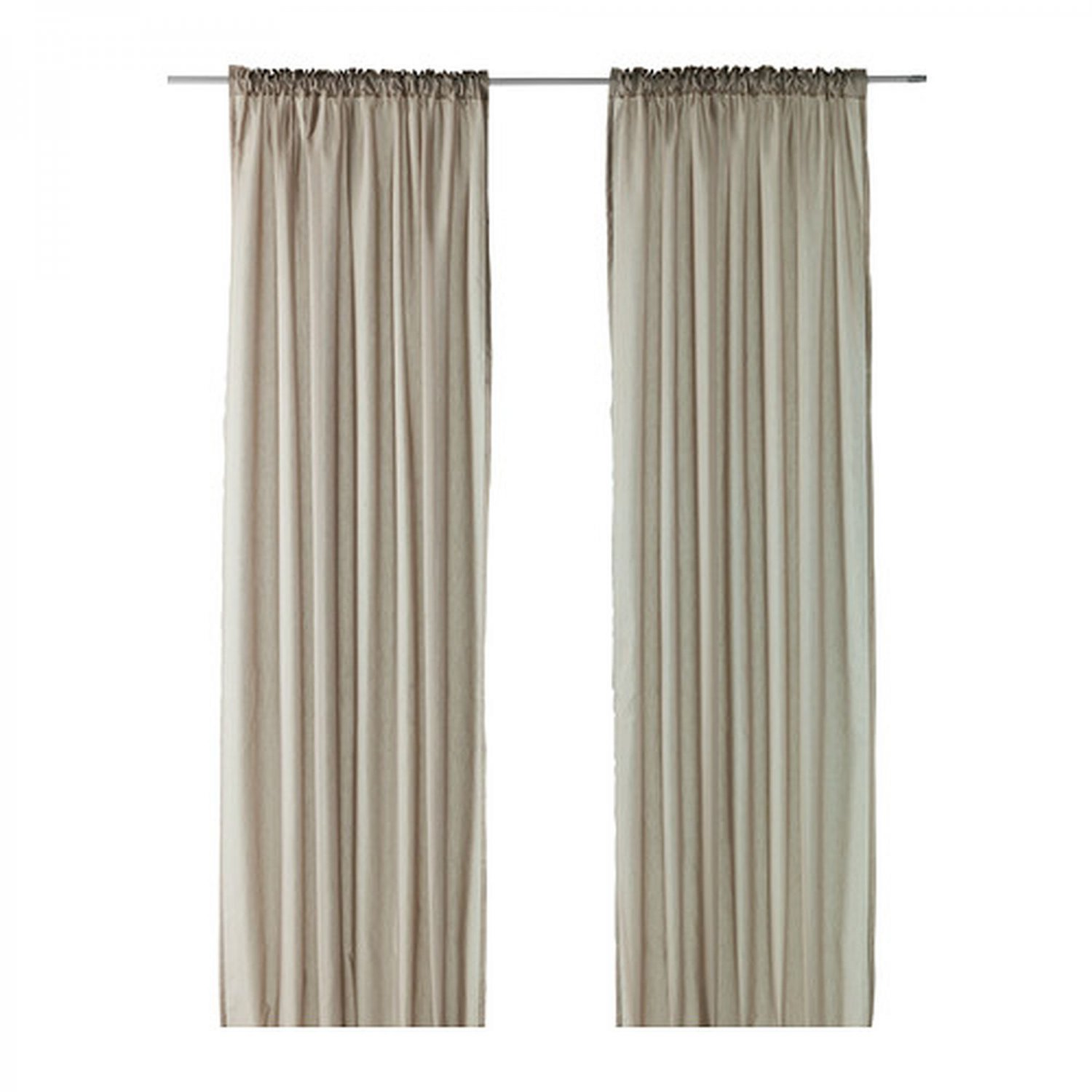 Ikea vivan curtains drapes beige 2 panels mushroom taupe for Ikea curtain rods uk