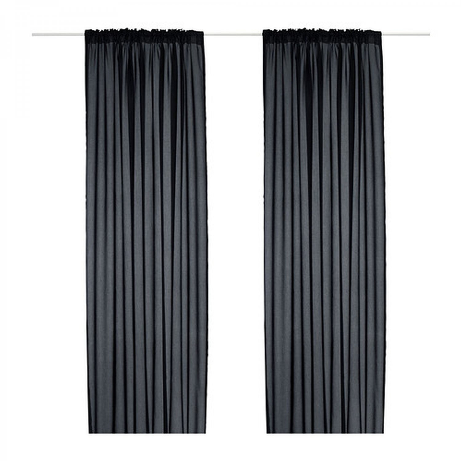 Ikea vivan curtains drapes black 2 panels for Ikea curtain rods uk
