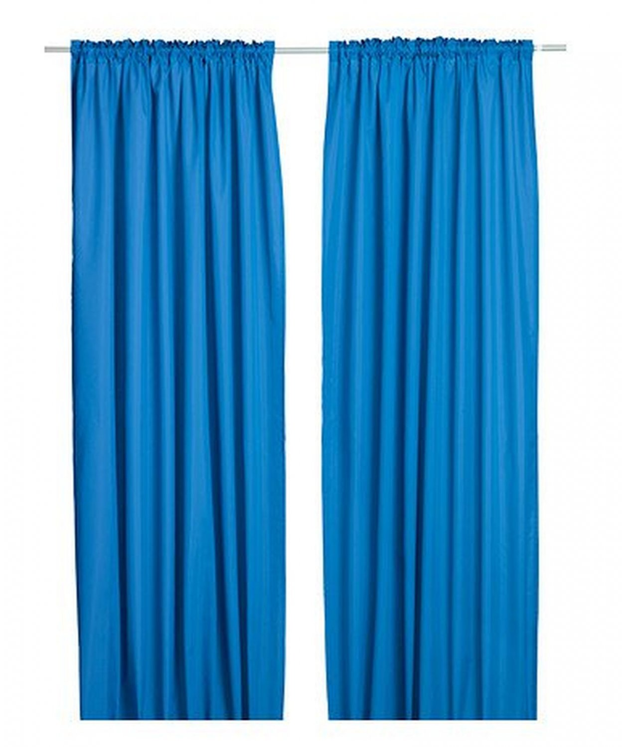 Ikea vivan curtains drapes blue 2 panels for Ikea curtain rods uk