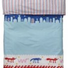 IKEA BARNSLIG NATTLIV TWIN Duvet COVER Pillowcase Set BLUE RED Stripes Animals HTF