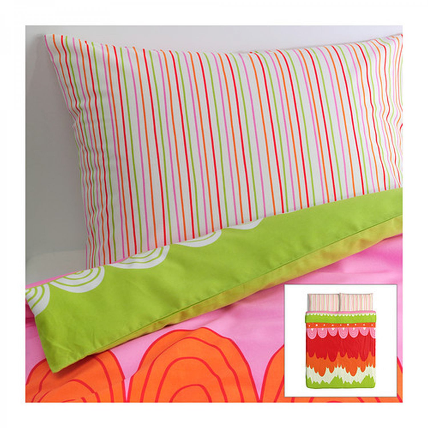 IKEA �NGSKRASSE QUEEN Full Double Duvet COVER Pillowcases Set Multicolor Angskrasse