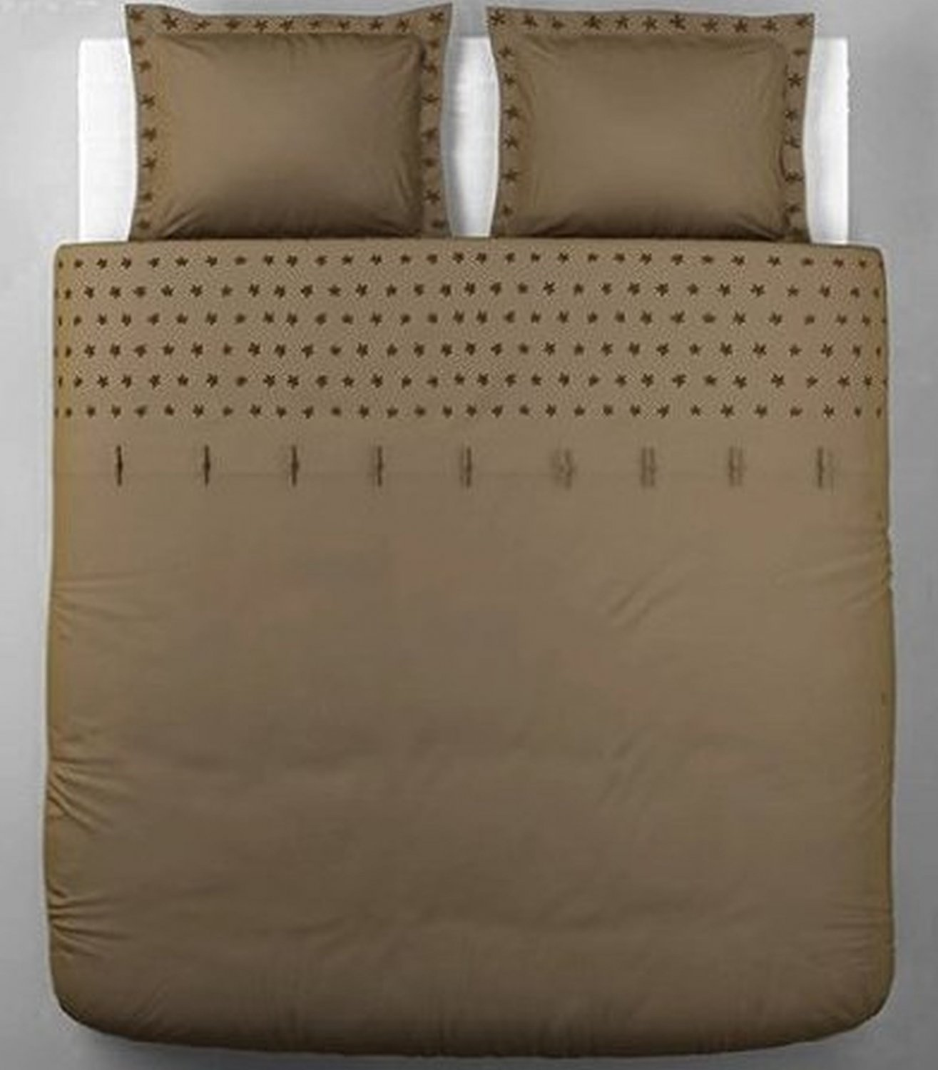 Ikea Tanja Brodyr Queen Full Double Duvet Cover Pillowcases Set Light Brown Satin Embroidered