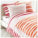IKEA SPRINGKORN Queen Full DUVET COVER Set Wavy Striped ORANGE White