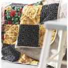IKEA RYSSBY 2014 Twin Full Double BEDSPREAD Comforter PATCHWORK Beige Red Gold REVERSIBLE Quilt
