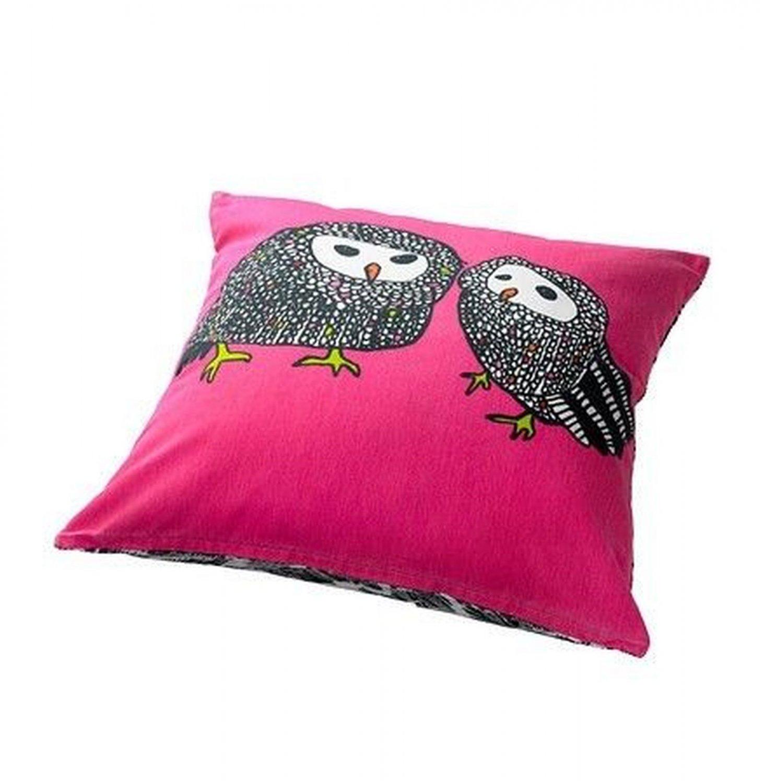 Ikea Gulort Owl Cushion Cover Pillow Sham Pink Black White