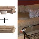 IKEA EKTORP 3 Seat Sofa AND 2 Seat Loveseat Sofa SLIPCOVER SET Covers IDEMO BEIGE