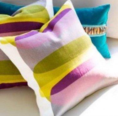 "IKEA MALIN FIGUR CUSHION COVER Pillow Sham GREEN GREY PURPLE Lilac 20"" x 20"" MidCentury Modern"