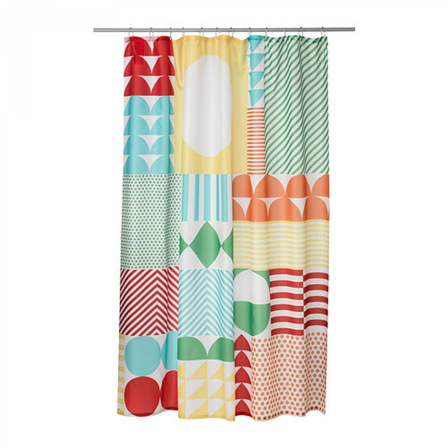 Ikea nimmern fabric shower curtain multicolor retro for Fabrics for children s curtains