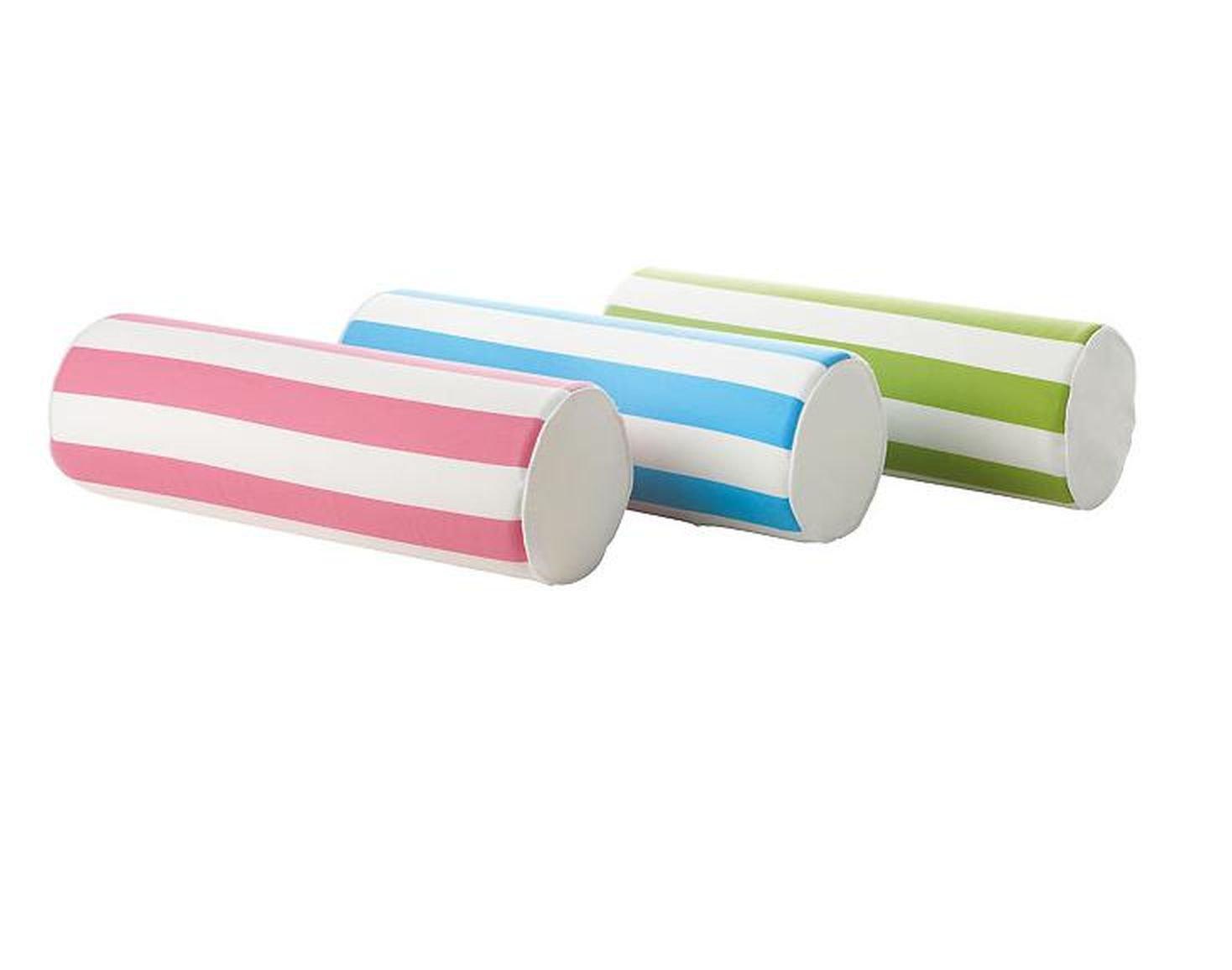 IKEA GRONSKA Grönska CUSHION Accent Bolster Roll Pillow GREEN White Stripe Cylindrical Sommar 2018