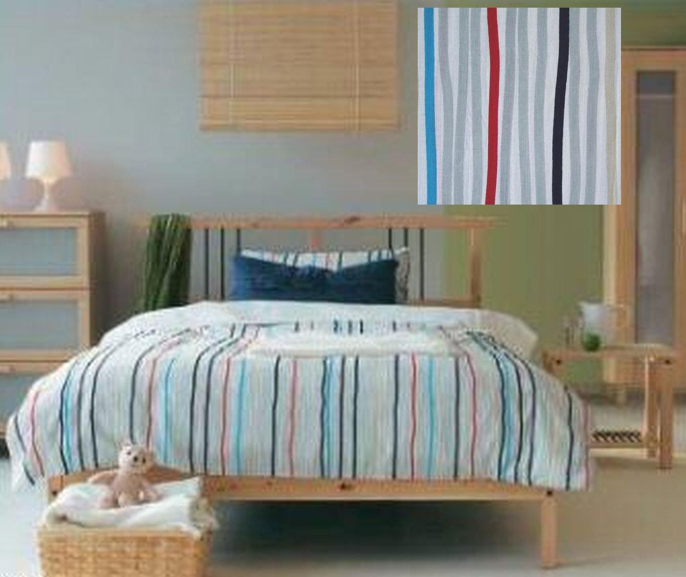 IKEA Tove QUEEN Full Double Duvet COVER Pillowcase Set Stripes Grey Red Blue Beige Scandi Modern