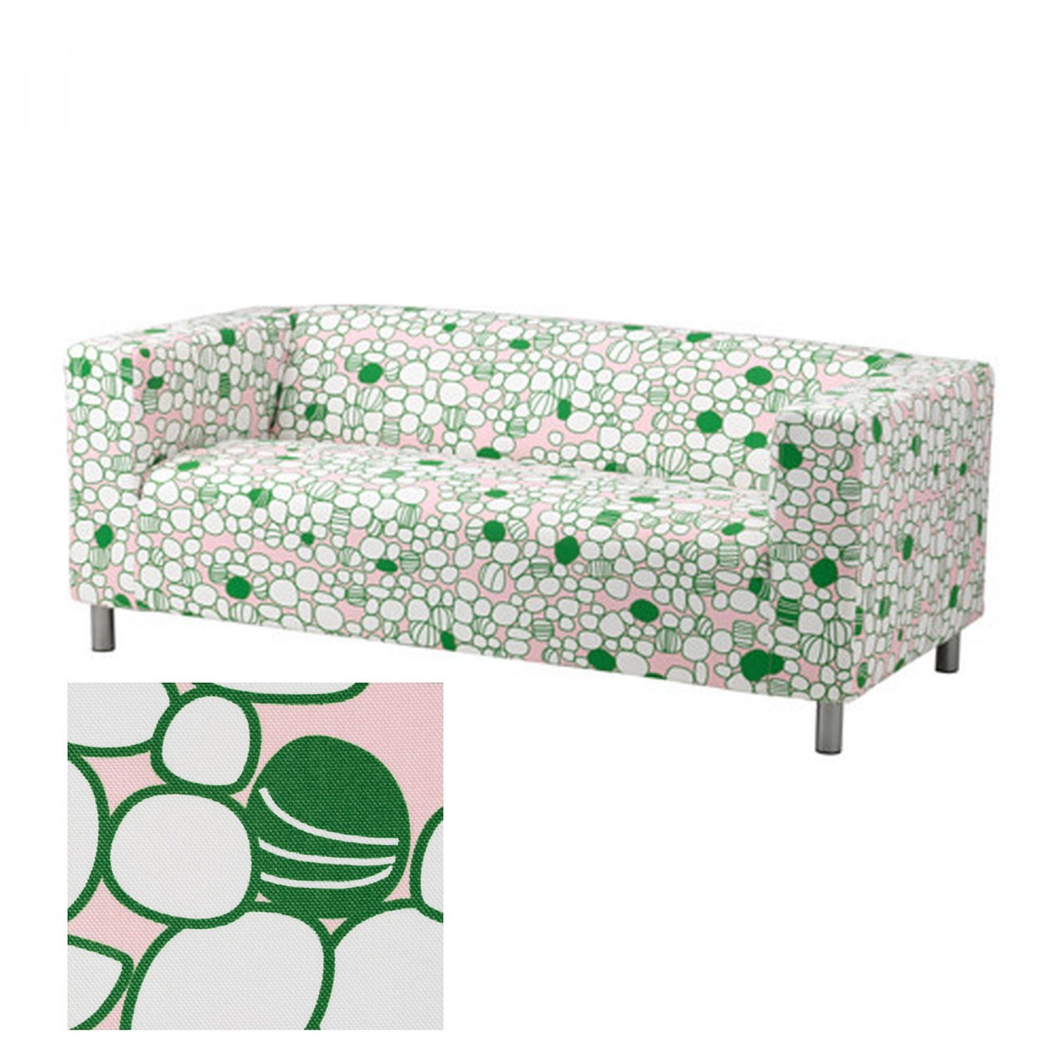 IKEA KLIPPAN Sofa SLIPCOVER Cover Green Pink MOD RETRO Marrehill