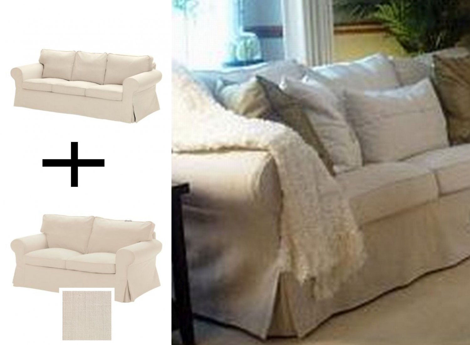 Ikea Ektorp 3 Seat Sofa And 2 Seat Loveseat Sofa Slipcover Set Covers Svanby Beige Discontinued