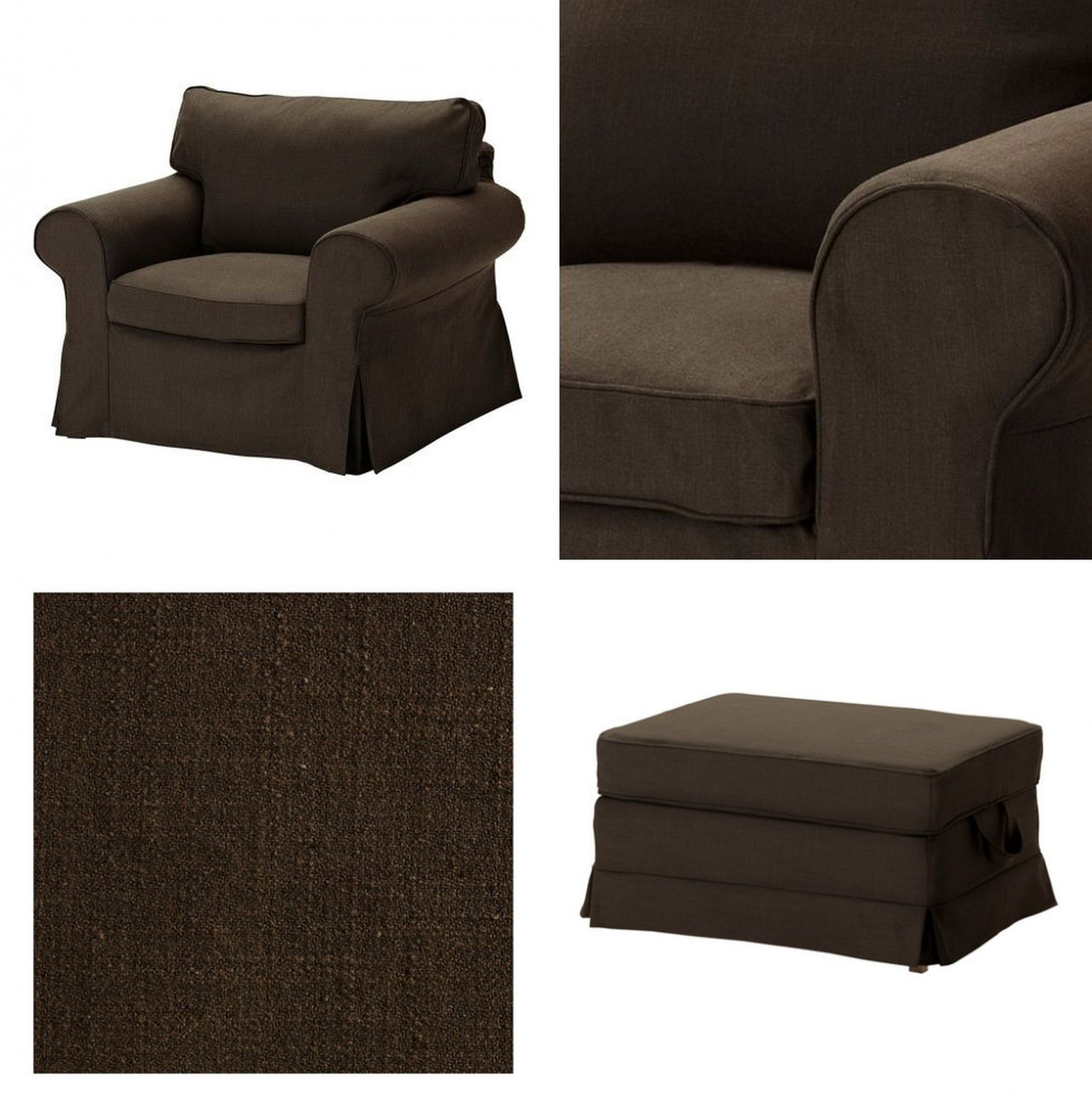 IKEA EKTORP Armchair and BROMMA Footstool COVER Chair Ottoman Slipcover SVANBY BROWN