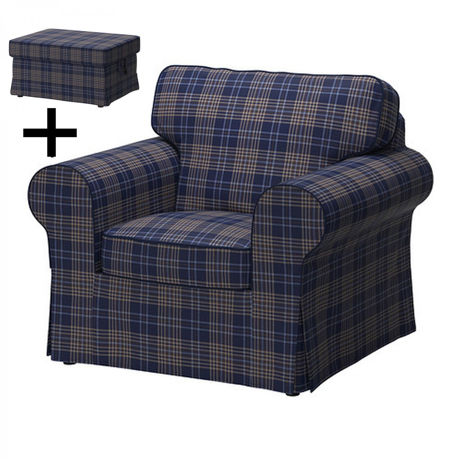 Ikea ektorp armchair and footstool cover chair ottoman for Chair and footstool
