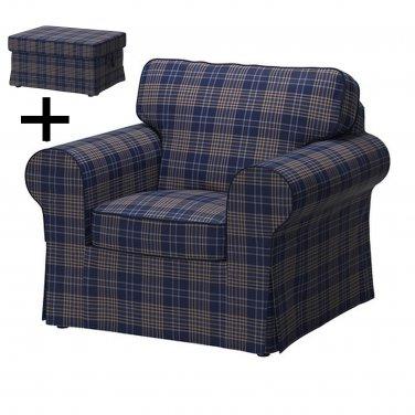 ikea ektorp armchair and footstool cover chair ottoman slipcover rutna multi blue plaid. Black Bedroom Furniture Sets. Home Design Ideas