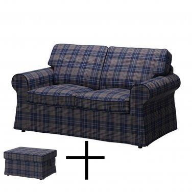 IKEA EKTORP 2 Seat Loveseat Sofa and Footstool COVER Slipcover RUTNA MULTI Plaid Blue