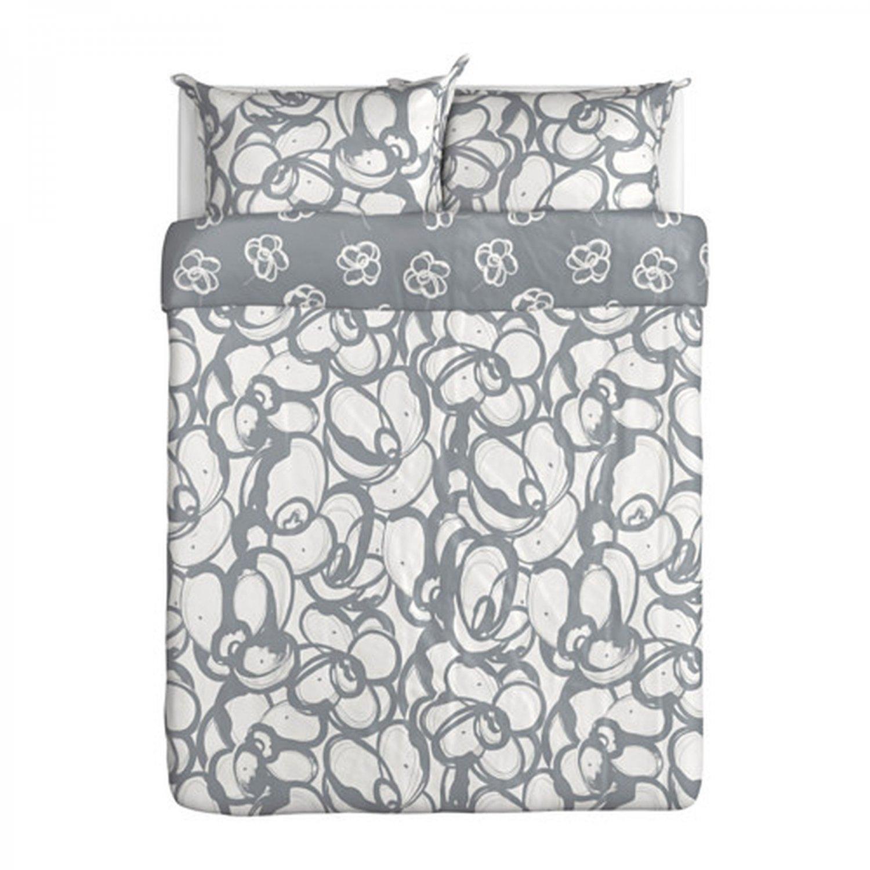 Ikea Klanglilja Queen Duvet Cover Pillowcases Set Gray