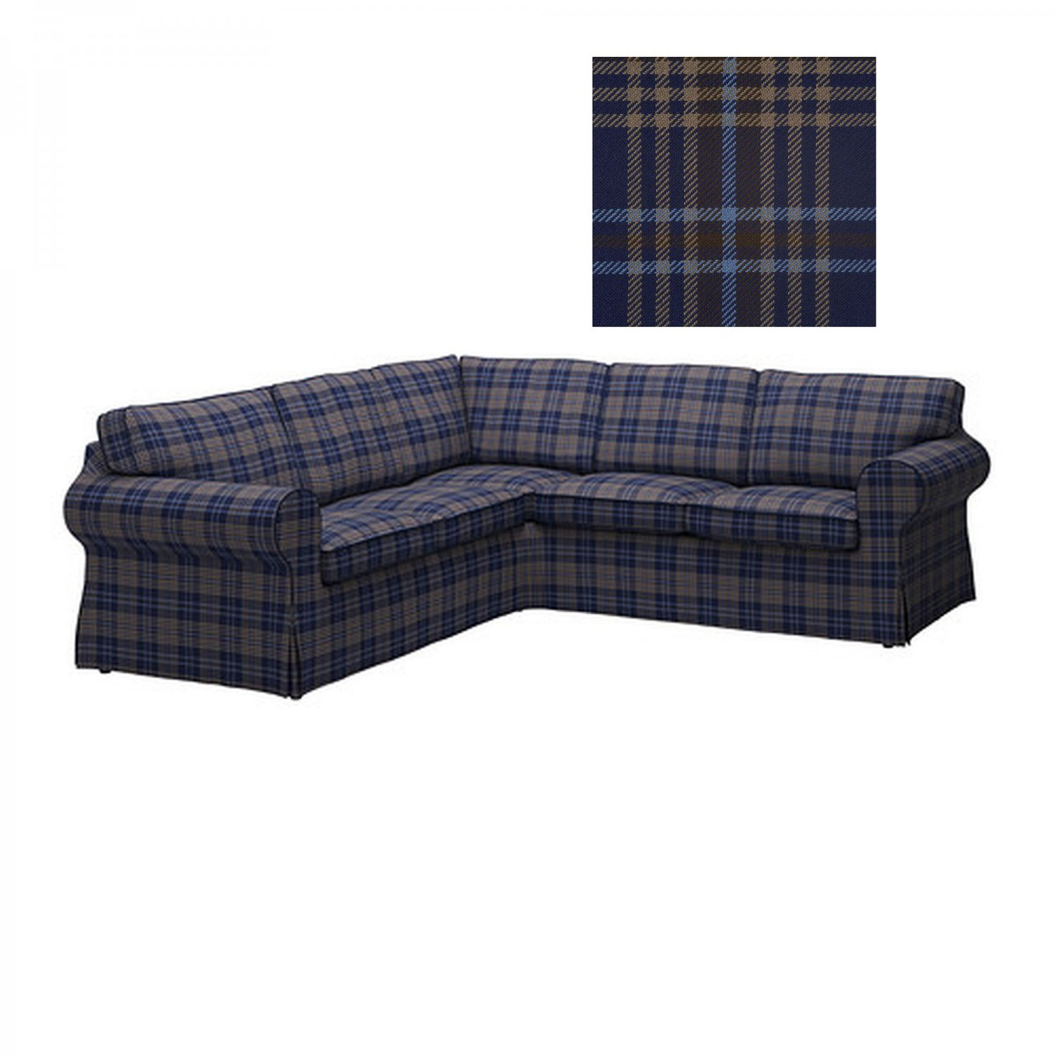 Ikea EKTORP 2 2 Corner Sofa COVER Slipcover RUTNA MULTI Blue Plaid