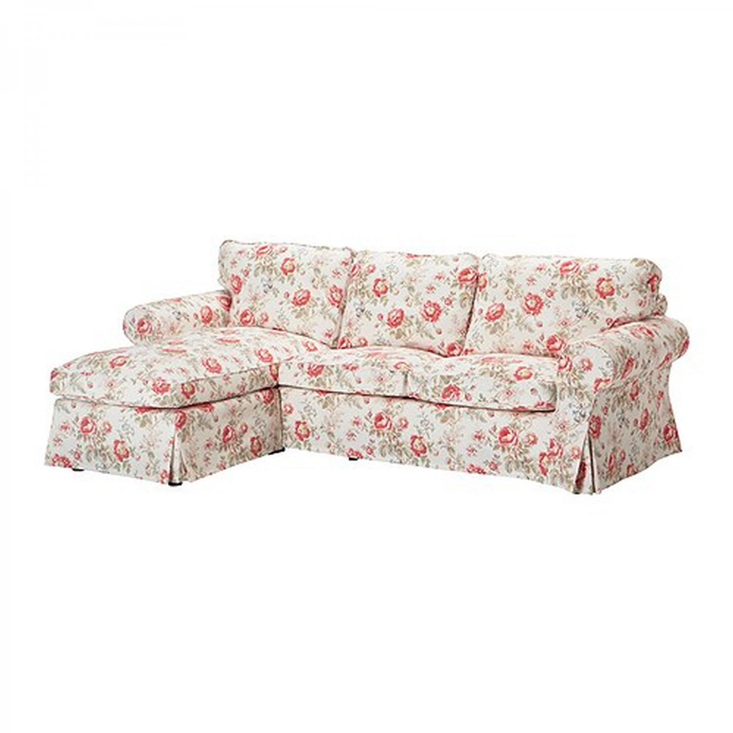 ikea ektorp 2 seat loveseat sofa with chaise cover slipcover byvik multi floral roses peonies