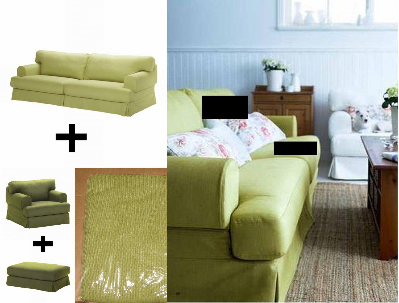 Ikea Hovas Sofa Armchair Chair And Footstool Slipcover Cover Combo Kallvik Green K Llvik Hov S
