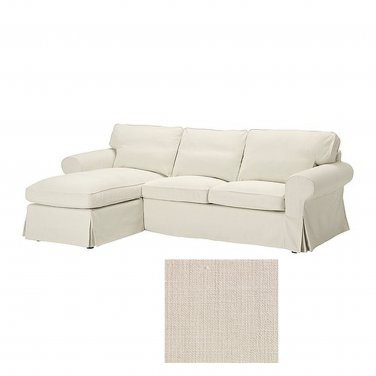 Ikea Ektorp 2 Seat Loveseat Sofa With Chaise Cover Slipcover Svanby Beige Linen Blend