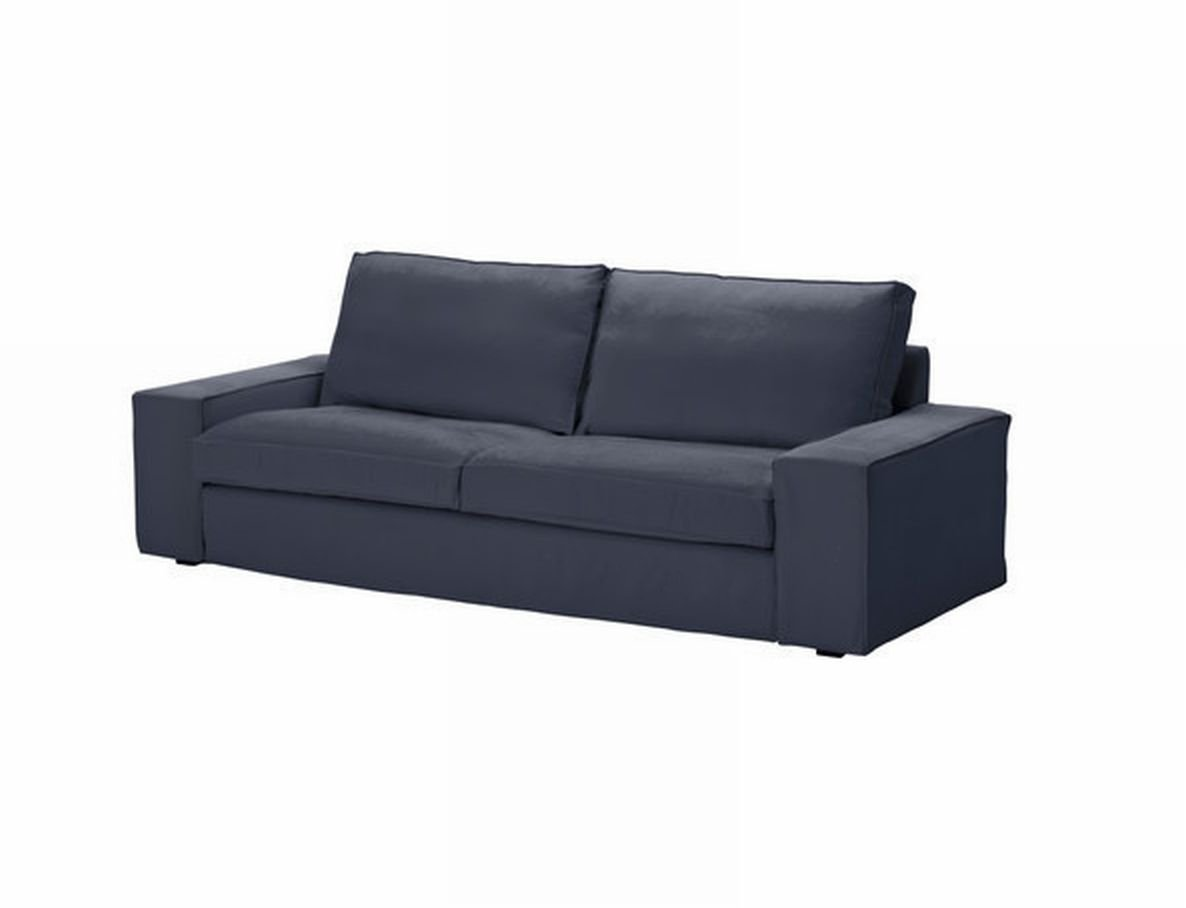 ikea kivik 3 seat sofa slipcover cover ingebo blue cotton bezug housse. Black Bedroom Furniture Sets. Home Design Ideas