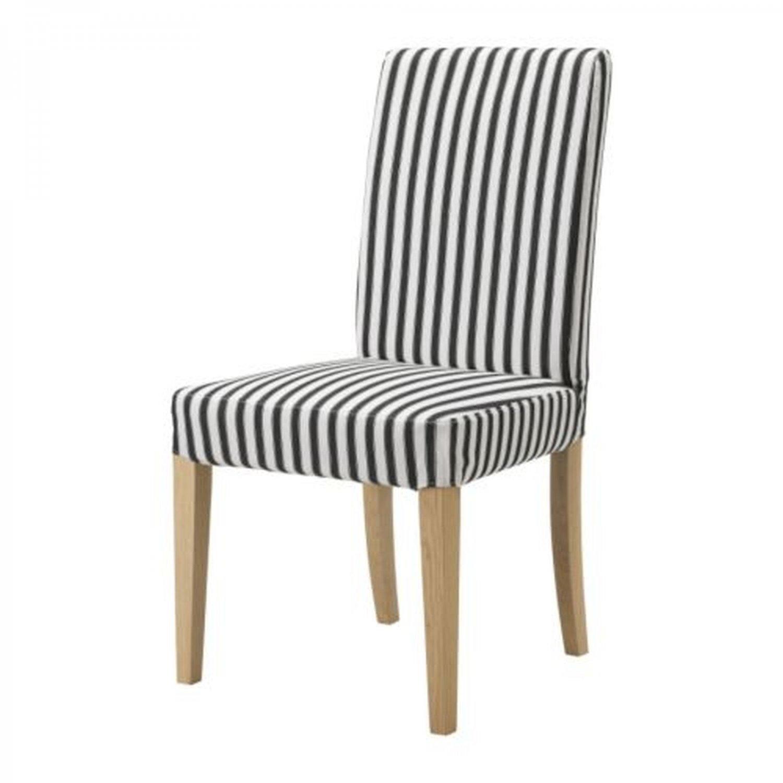 """IKEA HENRIKSDAL Chair SLIPCOVER 20"""" Cover VALLSTA Black White STRIPES"""