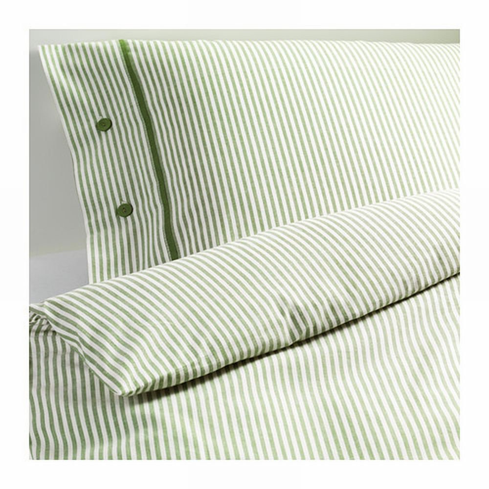 Ikea Nyponros King Duvet Cover Set Ticking Stripes Green