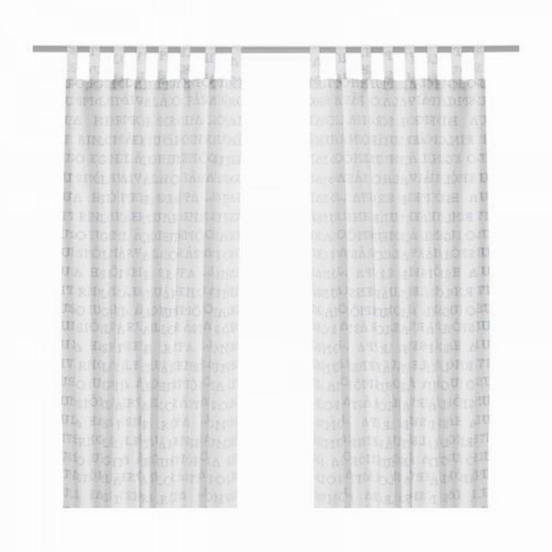 IKEA UNNI ORD Alphabet Curtains Drapes WHITE BLUE Swedish Country Cross Stitch Design