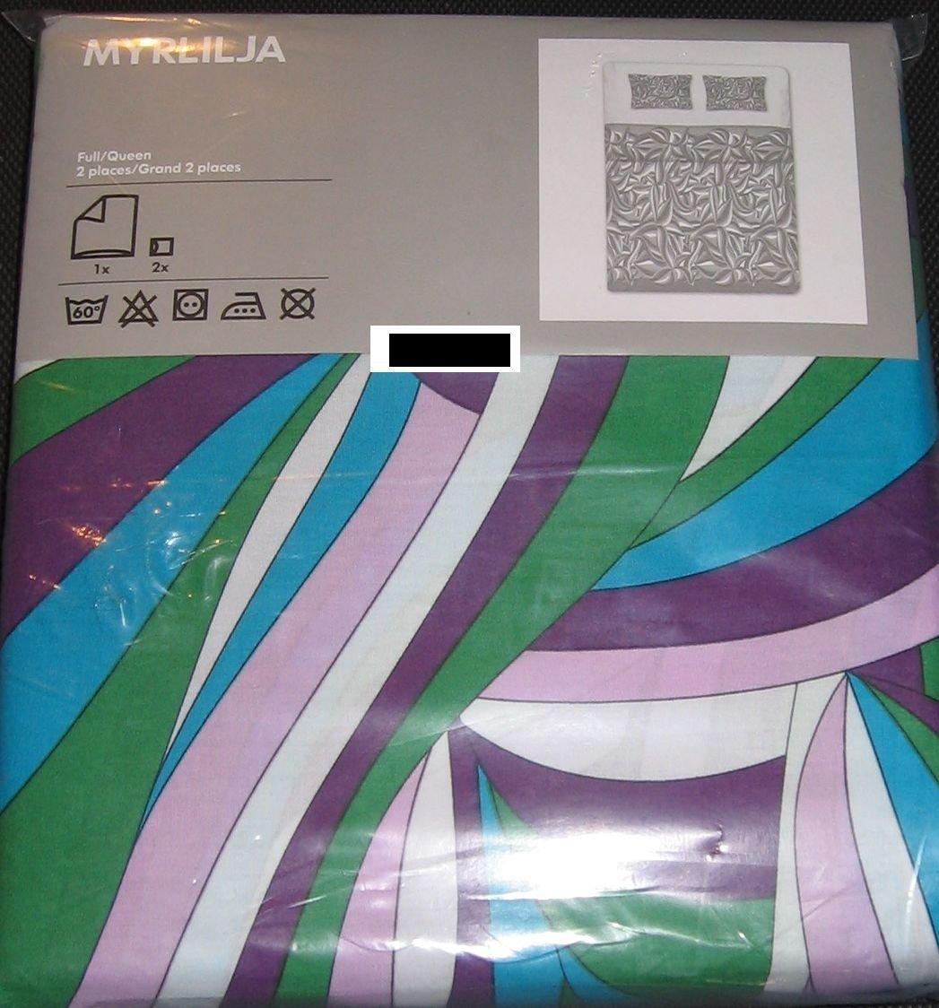 IKEA  MYRLILJA QUEEN Full Duvet COVER Set RETRO Swirl PURPLE Blue Green LAST ONE