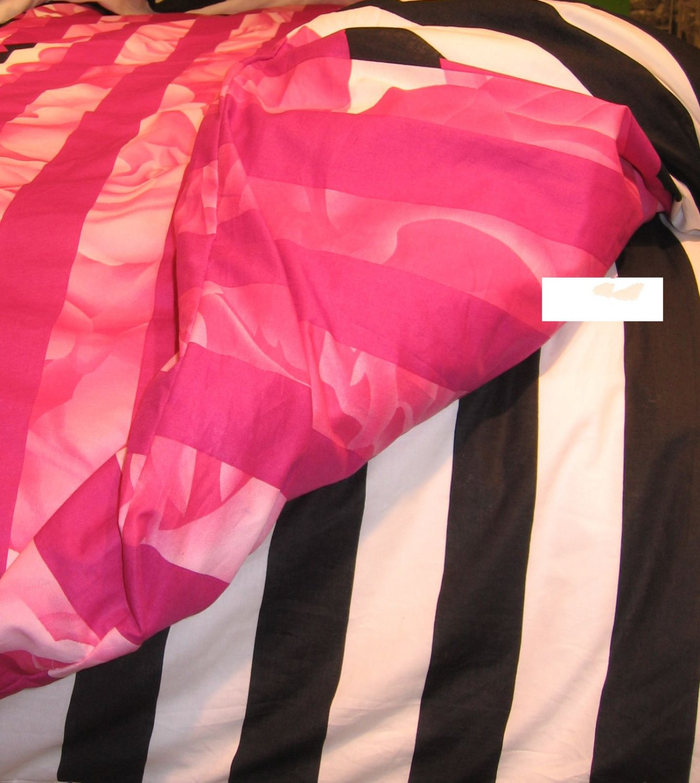IKEA  MYRLILJA QUEEN Full Duvet COVER Set PINK Floral BLACK Stripe RETRO