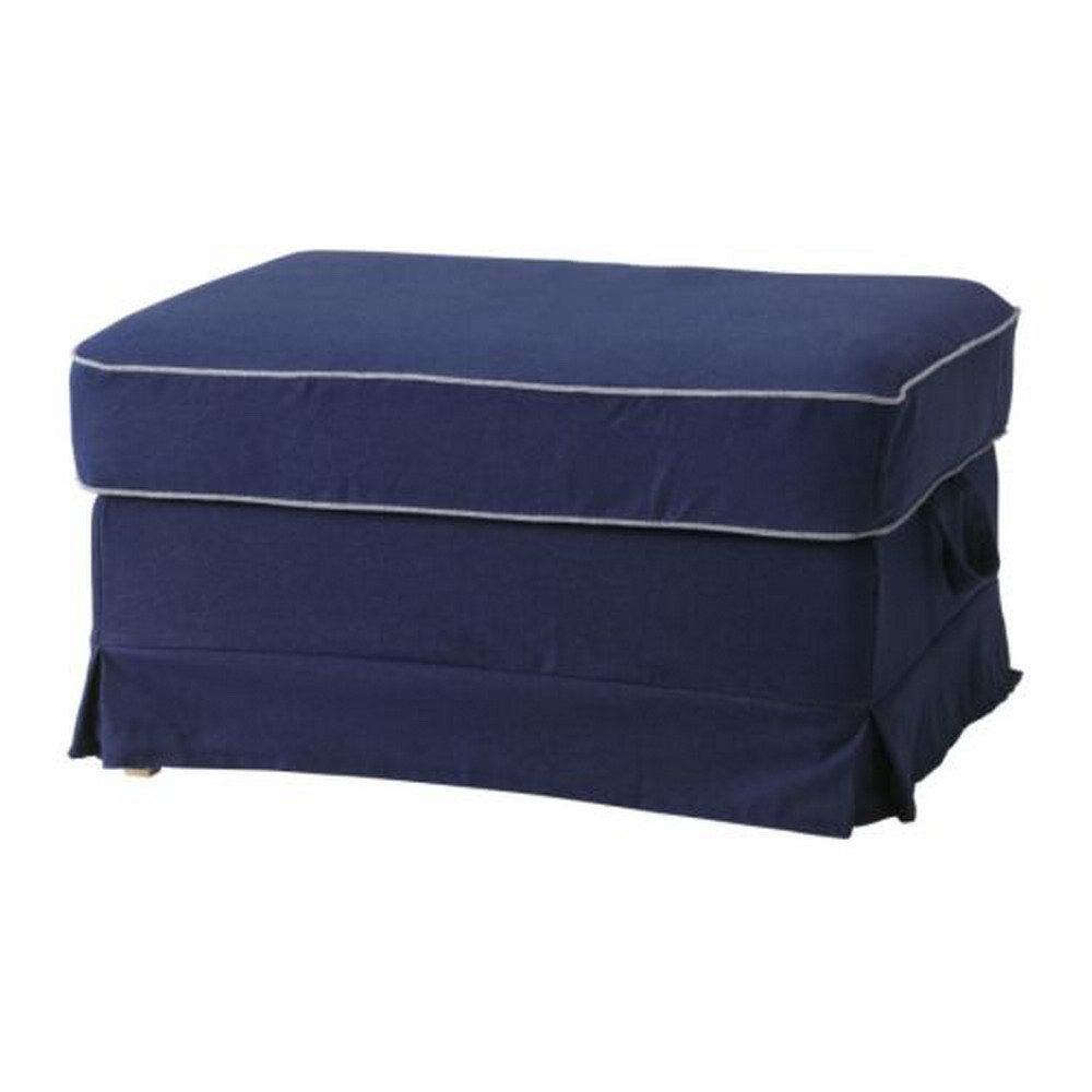 ikea ektorp bromma footstool slipcover cover idemo dark blue contrasting piping. Black Bedroom Furniture Sets. Home Design Ideas