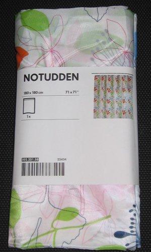 IKEA NOTUDDEN Leaf FLOWERS Fabric SHOWER CURTAIN Orange Green Pink Blue