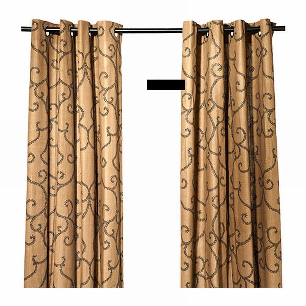 Ikea N 196 Tvide Natvide Curtains Drapes 2 Panels Brown Black
