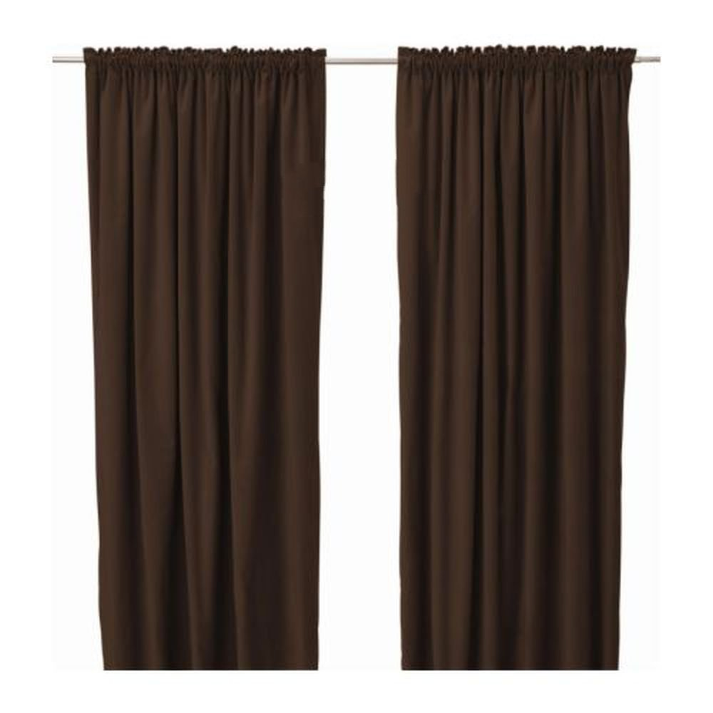 Ikea Sanela Curtains Drapes 2 Panels Brown Velvet 118