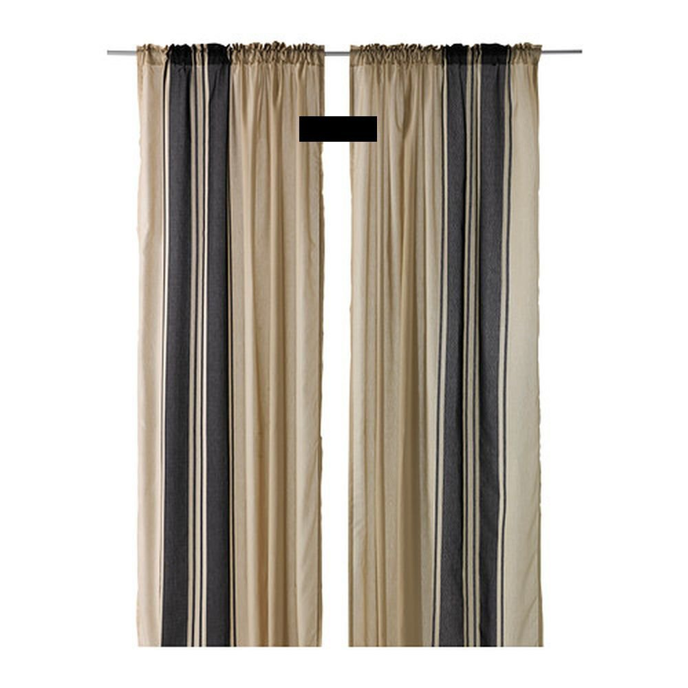 Ikea Bjornloka Curtains Drapes Beige Black Stripes Bj 214 Rnloka