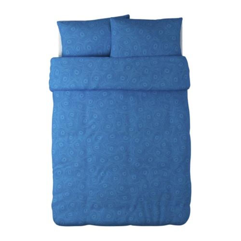 IKEA BIBBI SNURR BLUE Mod RETRO QUEEN Full Double Duvet COVER Set SWIRL