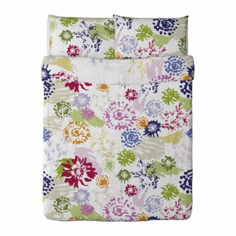 IKEA RENATE BLOM Floral QUEEN Full DUVET COVER Pillowcases Set  MODERN Romantic