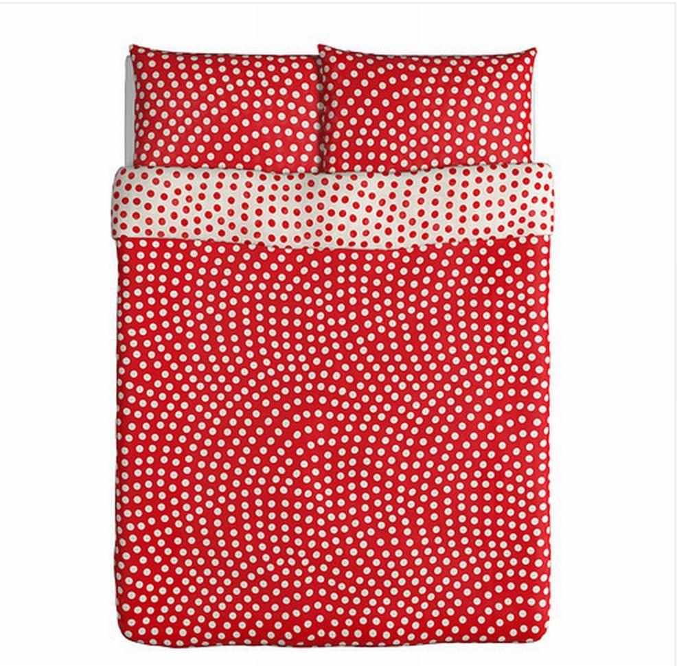 Ikea Stenklover Queen Duvet Cover Set Polka Dots Red