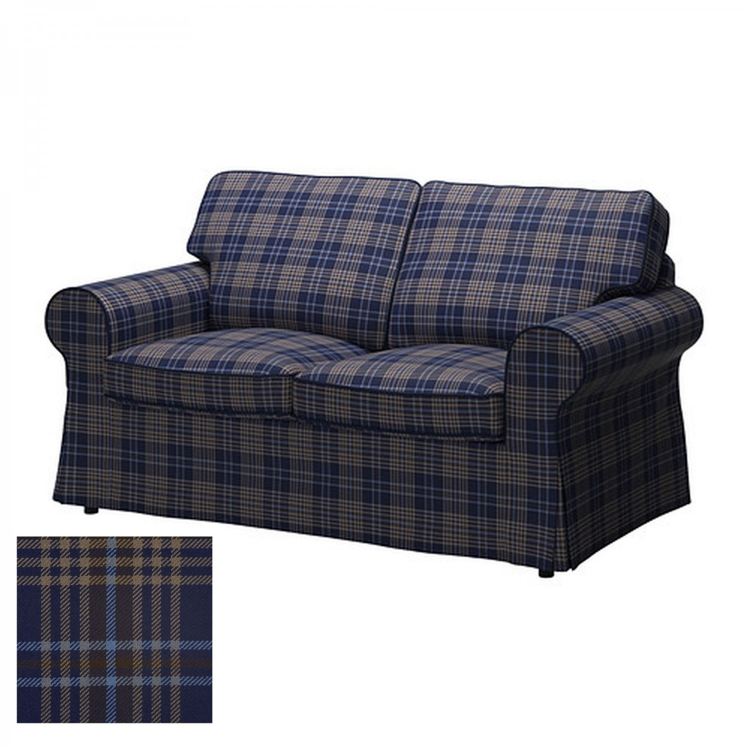 Ikea ektorp 2 seat loveseat sofa cover slipcover rutna multi plaid blue Blue loveseat slipcover