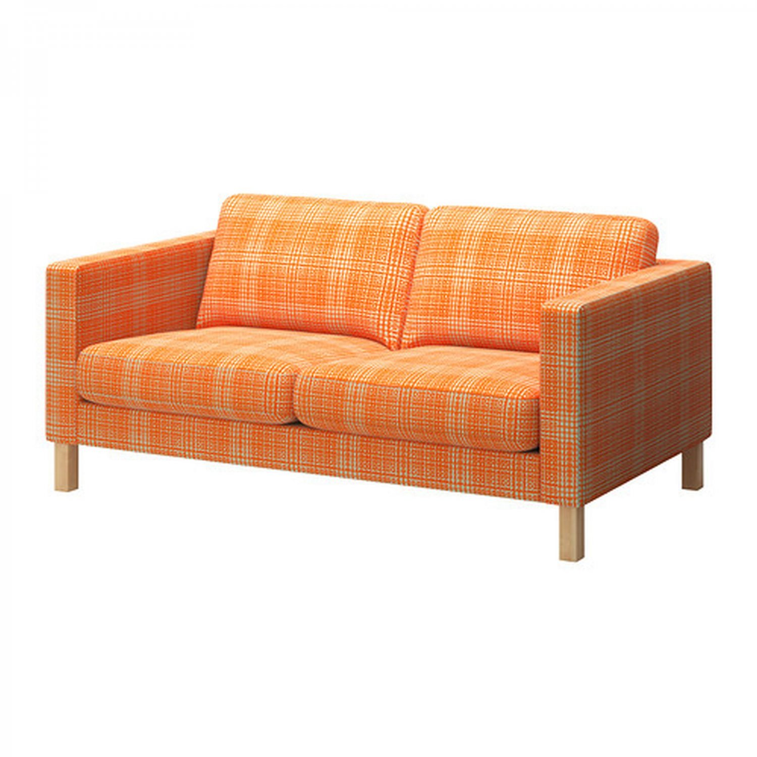 Ikea Karlstad 2 Seat Loveseat Sofa Slipcover Cover Husie Orange Print