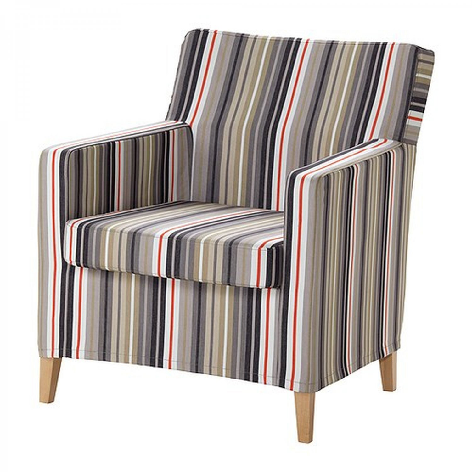 ikea karlstad chair slipcover armchair cover dillne gray beige multi stripes. Black Bedroom Furniture Sets. Home Design Ideas